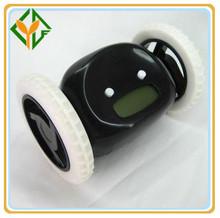 New Design run away wheel alarm clock,Black color alarm clock