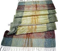 antigüedades chales de seda con patrón de la raya