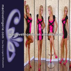 ML17677 Dropshipping Black Rose Pink Color Short Sleeve Girls Latest Design Women Frock