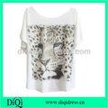 Leopard impresso batwing mangas branca t- shirt das mulheres camisa branca com a impressão de animais