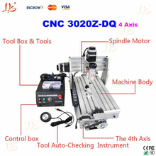 The lowest price 4 axis cnc engraving machine/engraver. cnc 3020Z-DQ 4 axis with ball screw design