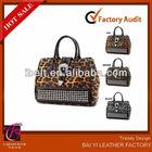 New Western Rhinestone Buckle Leopard Tote Satchel Animal Print Bag