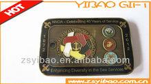 Brass dog tag national naval officers association celebrating epoxy badge antique bronze plated