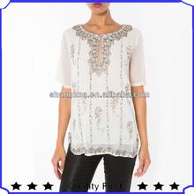 China factory price Half Sleeve Beading designer Women's tunic blouses shirts customized