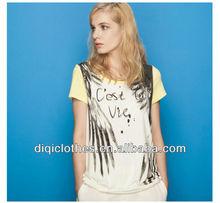 hot sale most popular pretty lady fashion print t-shirt, asymmetrical long t-shirt for lady
