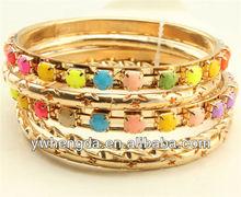 Beautiful and graceful rose gold mix color stone bangle set
