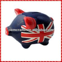 Black England flag picture handpainted piggy money saving bank