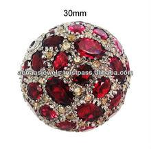 Diamante Rhodolite granos de la bola finding, 925 bola de plata de ley hallazgos, Del traje de Finding de la piedra preciosa de la joyería fabricante proveedor