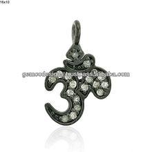 925 ayar gümüş tek kesim elmas om çekicilik kolye el yapımı toptan takı