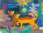 Hand painted modern decorative abstract oil painting cartoon kitten, interesting night scene painting