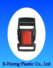 Safety reflective plastic bag belt side release buckle