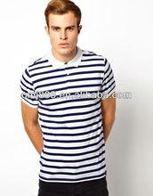 Whoelsale 100% cotton breton stripe men's polo -t-shirt for summer
