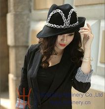 Black New winter fedoras wool felt hats for women with Diamond Casing