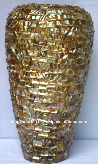 2013 hot design! Vietnam Mother of pearl Mosaiced Lacquer Vase