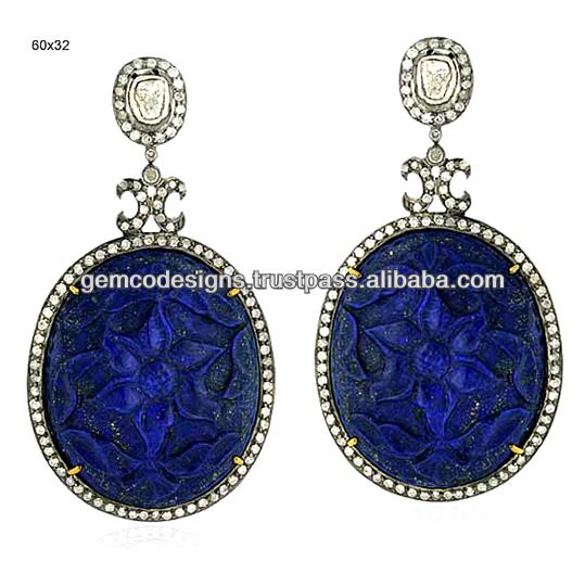 Oval Diamond Earrings Diamond Lapis Designer Oval