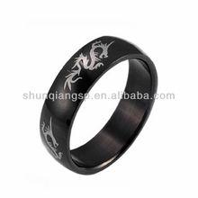 Mens Stainless Steel Black Ring