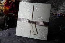 Wholesale Tri-fold Wedding&Birthday Invitation With Silver Bows