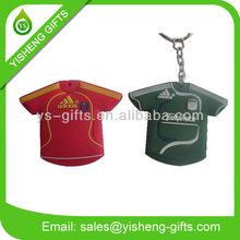 Soccer Ball T-shirt Shape Rubber Keyring/Key Chain