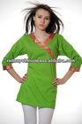 Wonderful Green Plain Kurti With Lace In Angrakha Style 2014