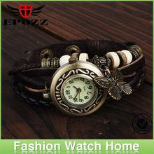 Wholesale leather strap vogue brass butterfly quartz woman leather bracelet watch