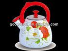 3.0L Enameled whistling kettle with steel cover/Enamel tea pot/Enamel Cookware