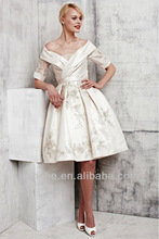 CY416 Attractive off shoulder with sleeves short ball gown knee length new fashion applique wedding dress 2014