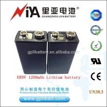 10.8V 1200mah 6f22 size 9v battery lithium