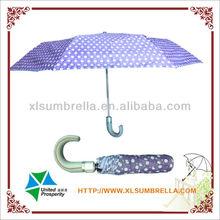"23"" Curved handle dot pongee 3 folding umbrella"
