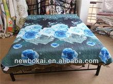 3d reactive printing floral design pink/blue print quilt