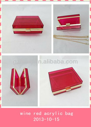 2013 newest fashion design colorful acrylic box purse frame transparent clutches,evening bag,party bag for lady