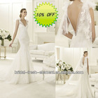 Hot Sale Good Quality Tulle Appliqued V-neck Sexy Irish Lace Wedding Dresses