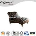 Couro chaise lounge cadeira redonda antigo sofá chaise yf-1907
