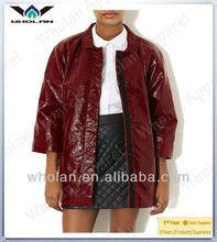 Ladies woman long leather coat western design