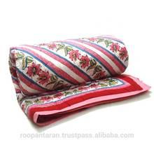 Cotton Quilt Blanket Block Print Flower Bed