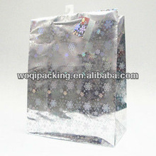 snowflake design Laser paper bag size:26*33*14 of paper gift bag for christmas