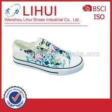 Durable lienzo pintado a mano los zapatos de las mujeres/zapatos de dama casual