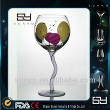 Lead-free S Shape Stem Colored Swirl Wine Glass