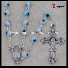 6mm white glass lucky eye beads rosary yiwu factory church prayers
