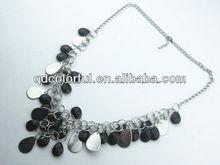 YN5166 faceted black cheap beaded necklaces in bulk