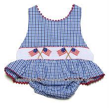Bambino/bambino ragazza percalle blu affumicata bandiera bandiera- costume da bagno di un pezzo