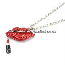 Fashion Jewelry Sexy Lip Gloss Necklace