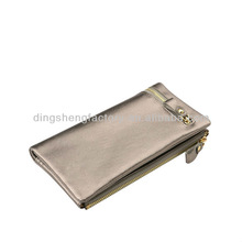 Zipper Clutch Wallet With Classical Silver Shining Color