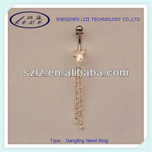 Fashion large heart gem dangling with small gems navel ring (Lz2360) body piercing jewelry