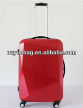 Fashion diamond cutting women's fancy luggage bags/trolley luggage