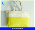 natürlicher baumwolle leinen strandtasche mit spitze