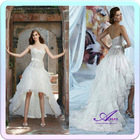 As1250 New Arrival Sweetheart Neckline Asymmetrical High Low Hem Lace Modest White Wedding Dresses