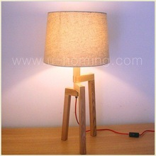 Tripod Nature Wooden Table Lamp with Shade Touch Led Lights