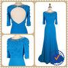 Blue High Neck Autumn Australian Style Evening Dress
