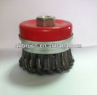 CHINA MANUFACTURE FREE SAMPLES 2013 3.5inch Knot Wire Cup Brush With Bridle,Protected Nut