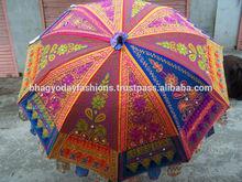Ethenic traditional Self Standing Garden Umbrella FOLDABLE SUMMER Heavy Handmade New UMBRELLA COTTON EMBROIDERY WORK